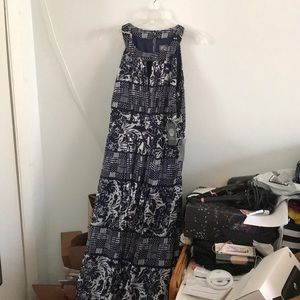 NWT Vince Camuto Floral Navy Maxi Dress Sz 10